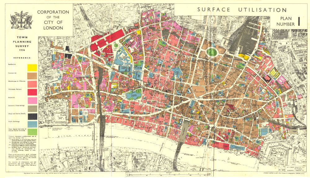Associate Product CITY OF LONDON. Town planning survey 1936. SURFACE UTILISATION 1944 old map