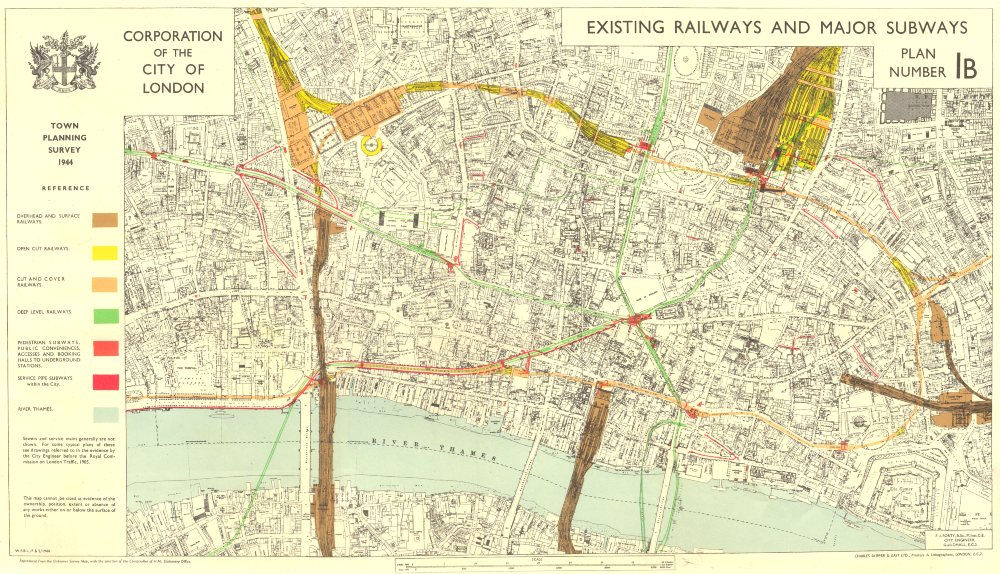 Associate Product CITY OF LONDON. Planning survey. EXISTING RAILWAYS. MAJOR SUBWAYS 1944 old map