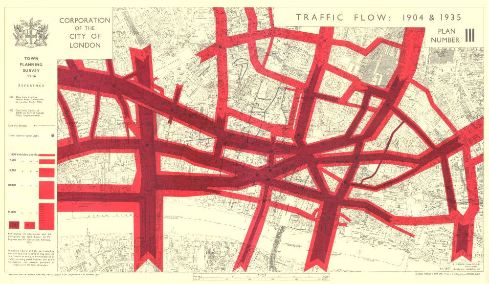 Associate Product CITY OF LONDON. Town planning survey. TRAFFIC FLOW IN 1904 & 1935 1944 old map