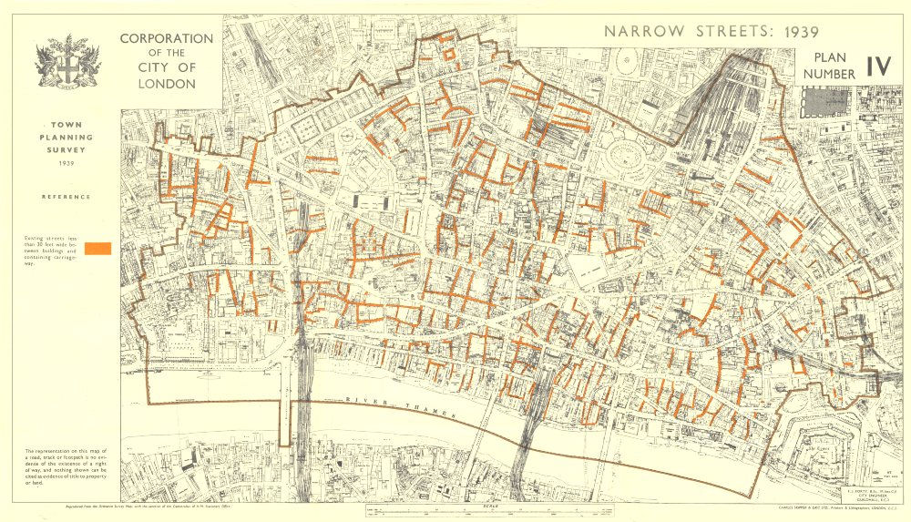Associate Product CITY OF LONDON. Town planning survey 1939. NARROW STREETS 1944 old vintage map