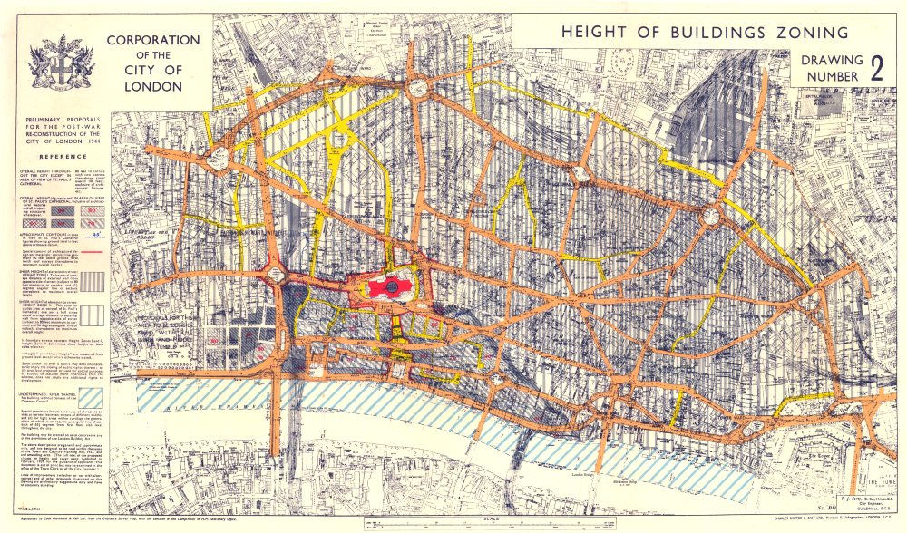 Map Of City Of London Uk.Details About City Of London Post War Reconstruction Plan Height Buildings Zoning 1944 Map