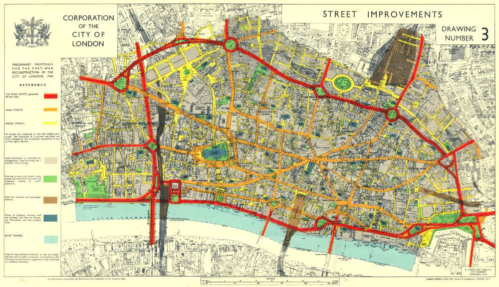 CITY OF LONDON. Post- war Reconstruction. PLANNED RING ROADS STREETS 1944 map
