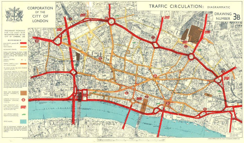 Map Of City Of London.City Of London Post War Reconstruction Plans Traffic Circulation