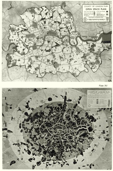 Associate Product LONDON. Open spaces & Park system. space plan; Region & City 1943 old map