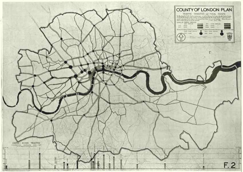 Associate Product LONDON. Communications. Traffic Densities 1943 old vintage map plan chart