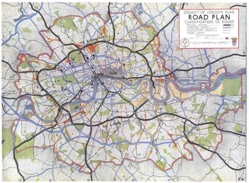 Associate Product LONDON. Planned inner ring road system. Classification of Roads 1943 old map