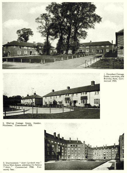 Associate Product LONDON. Housing. Downham Cottage Estate; Watling; Lambeth; China walk 1943