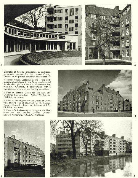 Associate Product LONDON. Housing. Ladbroke Grove; Bethnal Green; Kennington; Stockwell;  1943