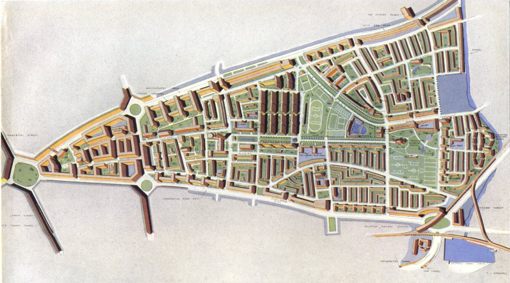 Associate Product STEPNEY. Housing postwar 'reconstruction area' plan 1943 old vintage map chart