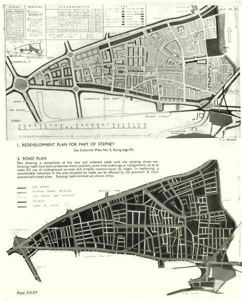 STEPNEY. Post war redevelopment plan for Stepney; Road plan 1943 old map