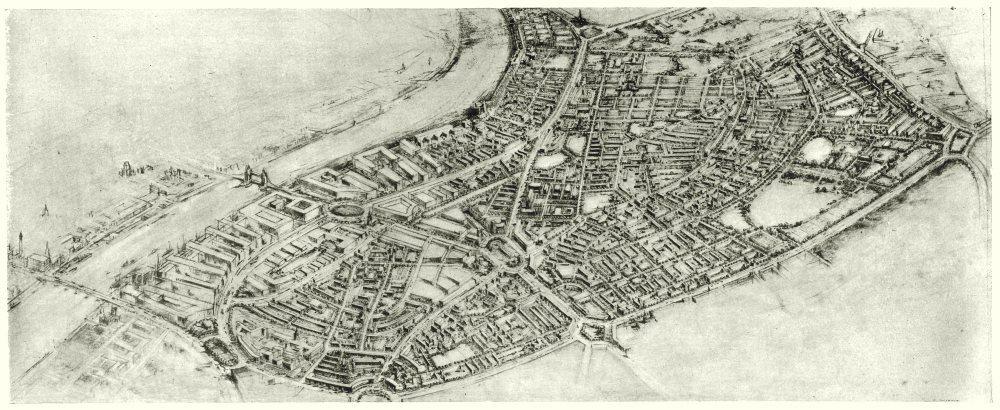 Associate Product BERMONDSEY.Post war redevelopment plan.Aerial view of proposed scheme 1943