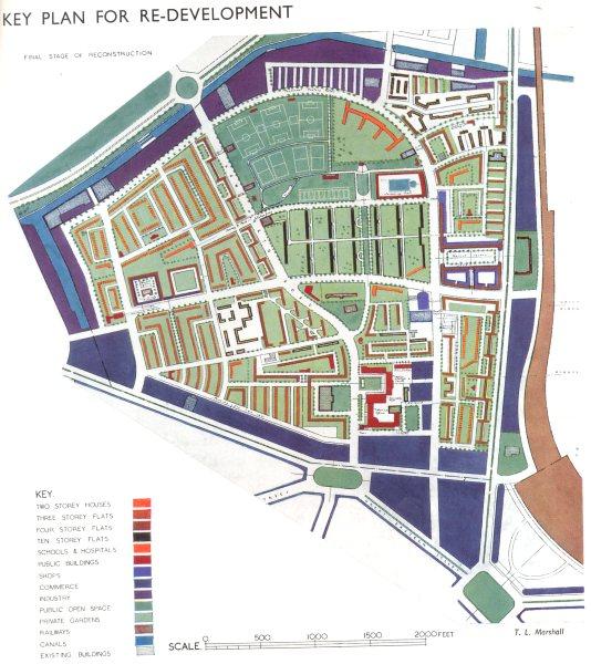 Associate Product HOXTON. Post war redevelopment Key plan 1943 old vintage map chart
