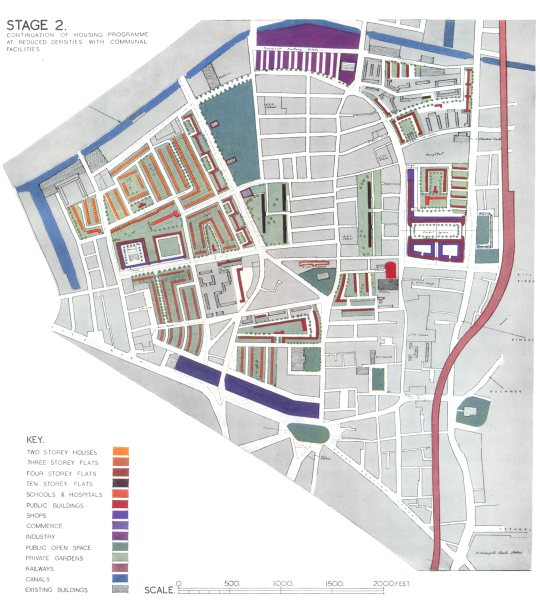 Associate Product HOXTON. Post war redevelopment plan. Stage 2 of Reconstruction 1943 old map