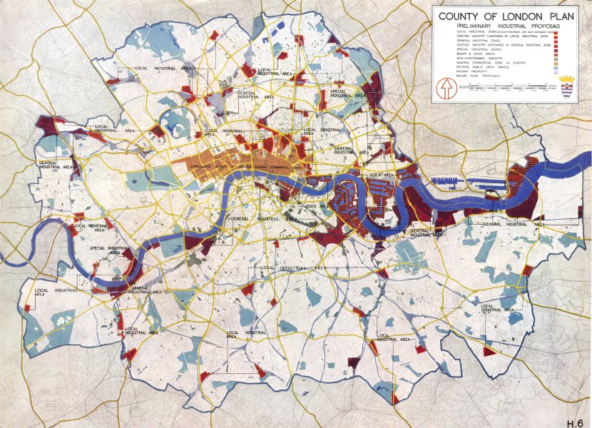 Associate Product LONDON.Use,Density,Height Zoning.plan preliminary industrial plans 1943 map