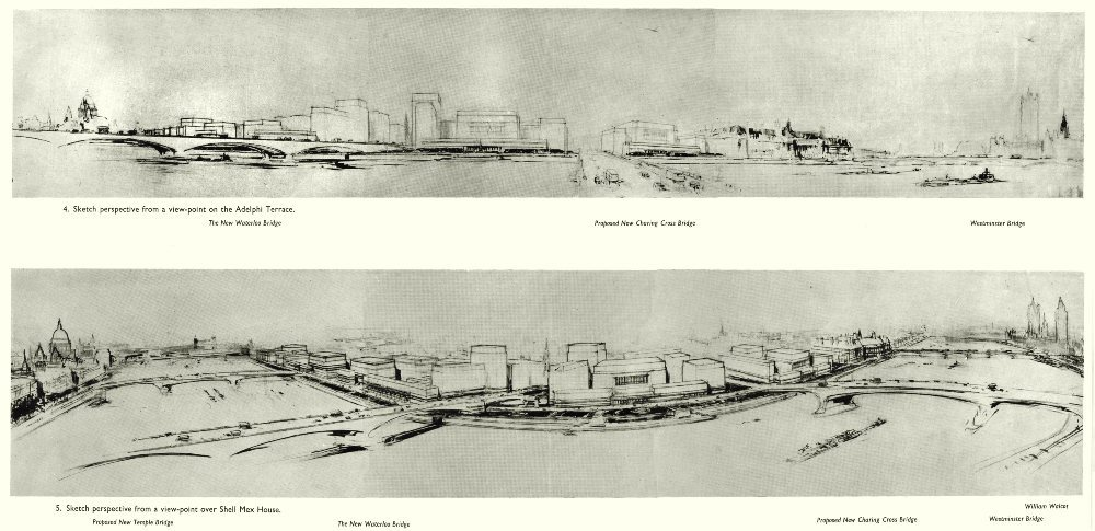 Associate Product LONDON. Post war propsoed redevelopment of the South Bank 1943 old print