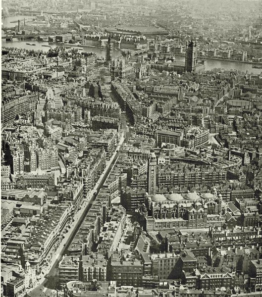 LONDON. Victoria Street and the Westminster Precinct Area 1943 old print