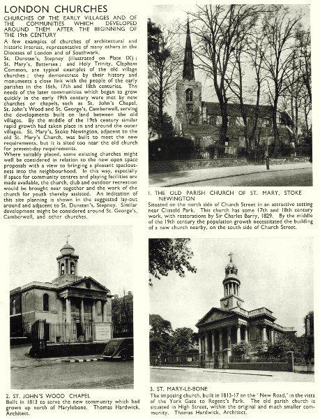 Associate Product LONDON CHURCHES.N.St Mary,Stoke Newington;St John's Wood Chapel;Marylebone 1943