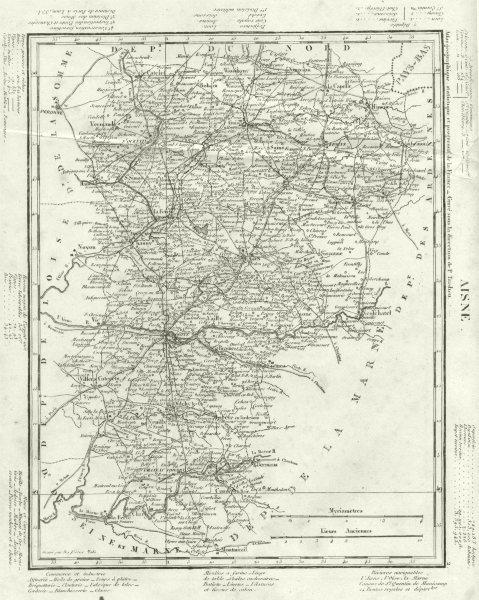Associate Product AISNE. Aisne département. Tardieu 1830 old antique vintage map plan chart