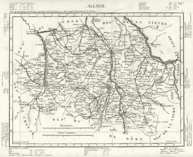 Associate Product ALLIER. Allier département. Tardieu 1830 old antique vintage map plan chart