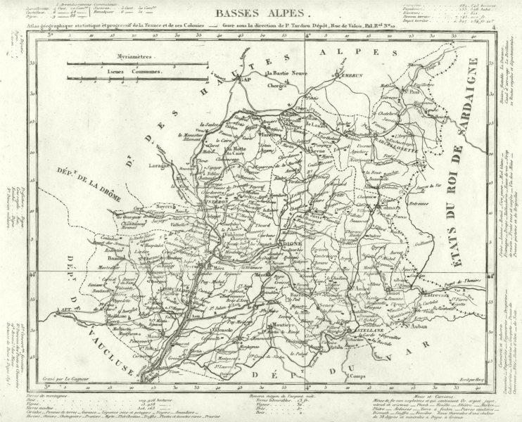 Associate Product ALPES-DE-HAUTE-PROVENCE. Alpes-de-Haute-Provence département. Tardieu 1830 map
