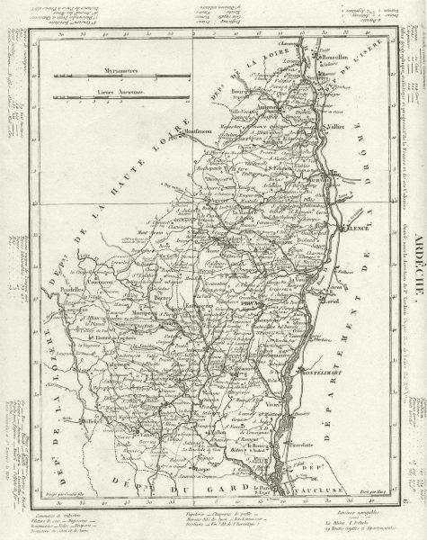 Associate Product ARDÈCHE. Ardèche département. Tardieu 1830 old antique vintage map plan chart