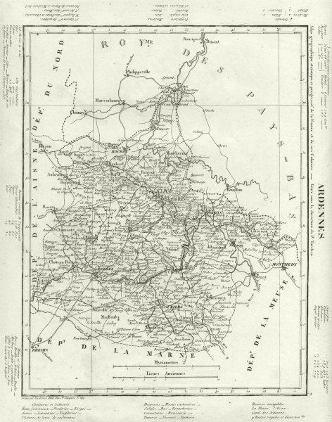 Associate Product ARDENNES. Ardennes département. Tardieu 1830 old antique map plan chart