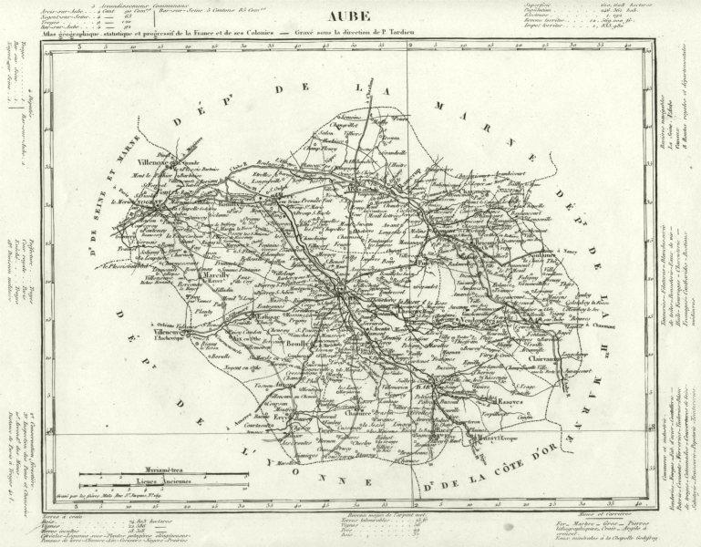 Associate Product AUBE. Aube département. Tardieu 1830 old antique vintage map plan chart