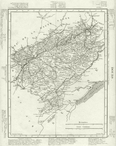 DOUBS. Doubs département. Tardieu 1830 old antique vintage map plan chart