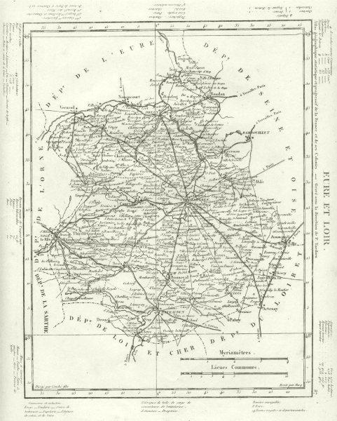 Associate Product EURE- ET- LOIR. Eure- Et- Loir département. Tardieu 1830 old antique map chart