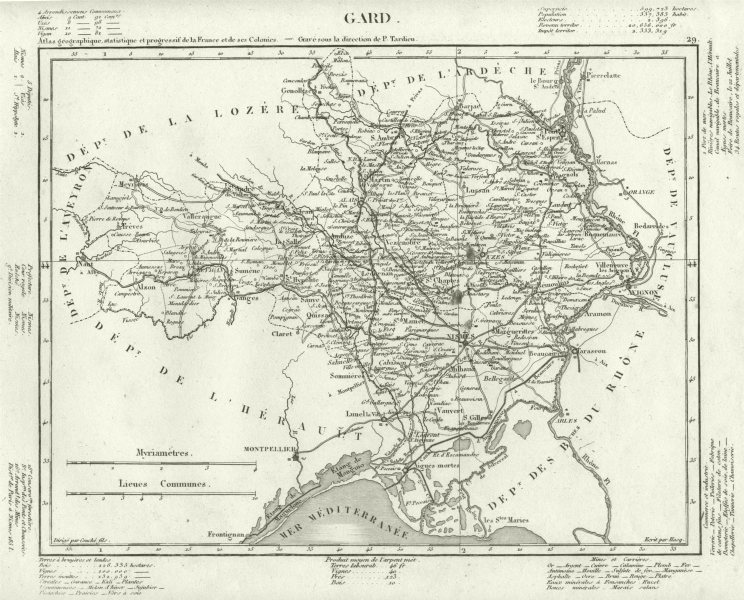 Associate Product GARD. Gard département. Tardieu 1830 old antique vintage map plan chart