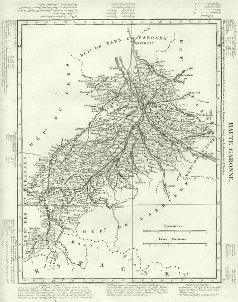 Associate Product HAUTE- GARONNE. Haute- Garonne département. Tardieu 1830 old antique map chart
