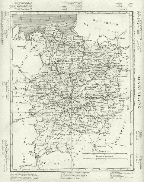 Associate Product ILLE- ET- VILAINE. Ille- Et- Vilaine département. Tardieu 1830 old antique map