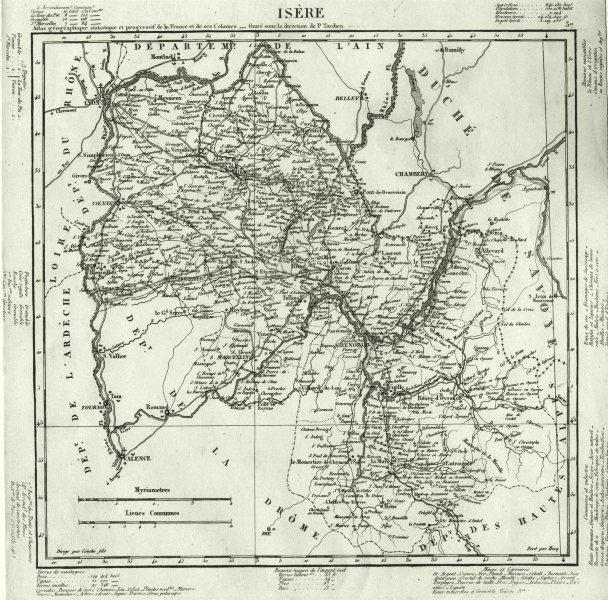 Associate Product ISÈRE. Isère département. Tardieu 1830 old antique vintage map plan chart
