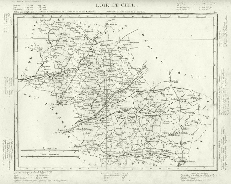 Associate Product LOIR- ET- CHER. Loir- et- Cher département. Tardieu 1830 old antique map chart