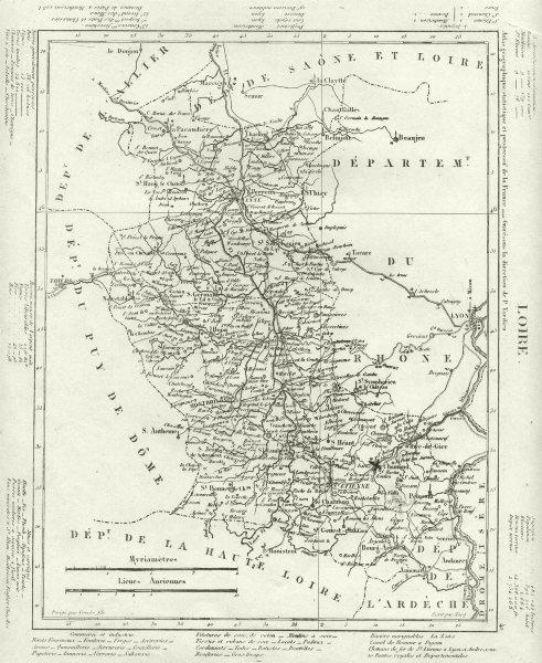 Associate Product LOIRE. Loire département. Tardieu 1830 old antique vintage map plan chart
