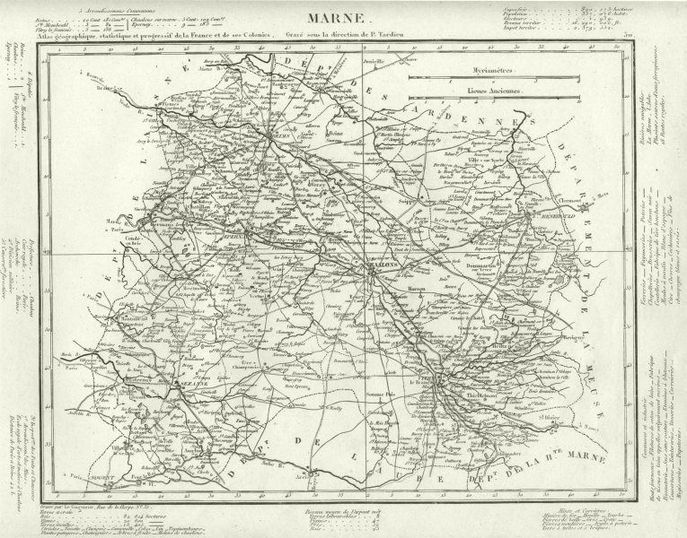 Associate Product MARNE. Marne département. Tardieu 1830 old antique vintage map plan chart