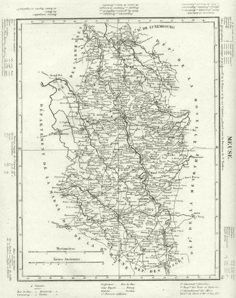 Associate Product MEUSE. Meuse département. Tardieu 1830 old antique vintage map plan chart