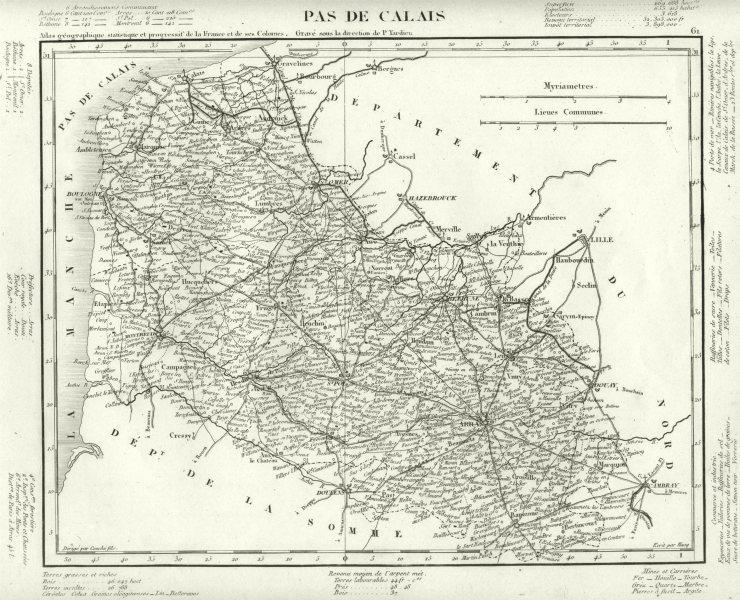 Associate Product PAS- DE- CALAIS. Pas- de- Calais département. Tardieu 1830 old antique map