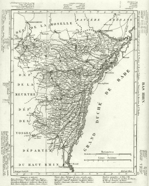 Associate Product BAS- RHIN. Bas Rhin département. Tardieu 1830 old antique map plan chart
