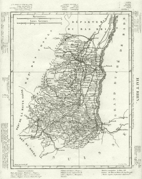 Associate Product HAUT- RHIN. Haut- Rhin département. Tardieu 1830 old antique map plan chart