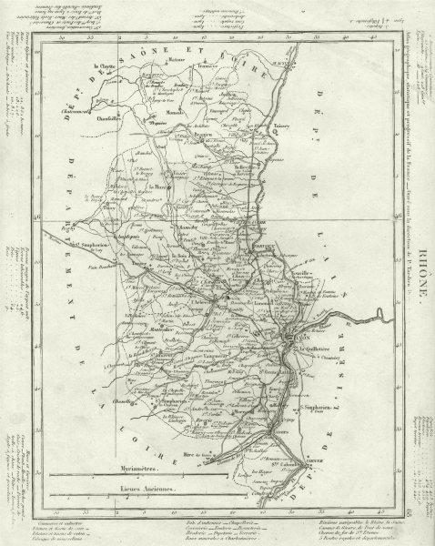 Associate Product RHÔNE. Rhône département. Tardieu 1830 old antique vintage map plan chart