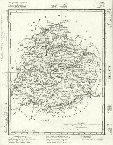 Associate Product SARTHE. Sarthe département. Tardieu 1830 old antique vintage map plan chart