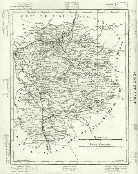 Associate Product SEINE- ET- MARNE. Seine- Et- Marne département. Tardieu 1830 old antique map