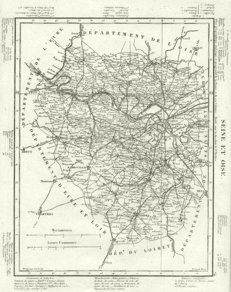 Associate Product SEINE- ET- OISE. Seine- et- Oise département. Tardieu 1830 old antique map