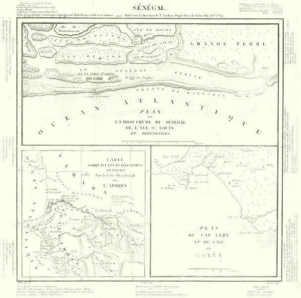 Associate Product SÉNÉGAL.Embouchure;St Louis;Côte Occidentale Afrique;Cap vert;Gorée. 1830 map