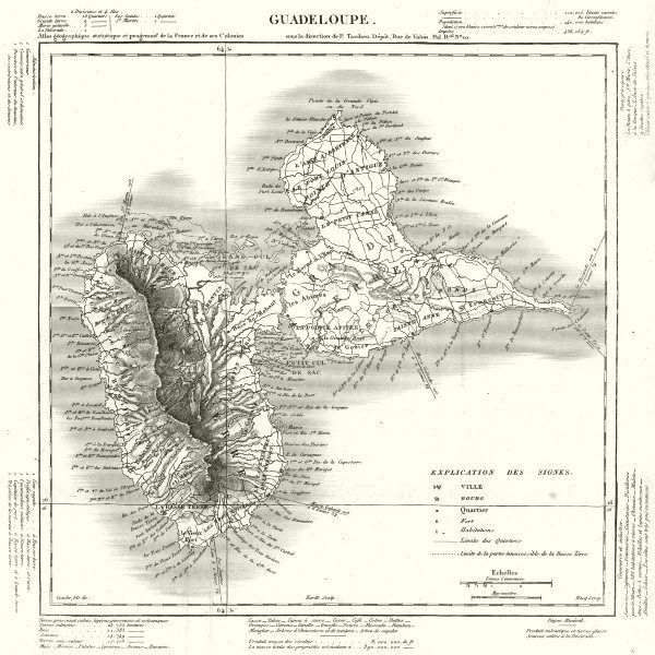 Associate Product WEST INDIES. Guadeloupe. Tardieu 1830 old antique vintage map plan chart
