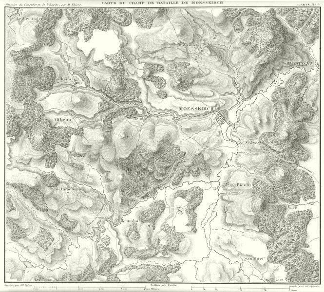 Associate Product GERMANY. Carte du champ de Bataille de Messkirch Moesskirch 1859 old map