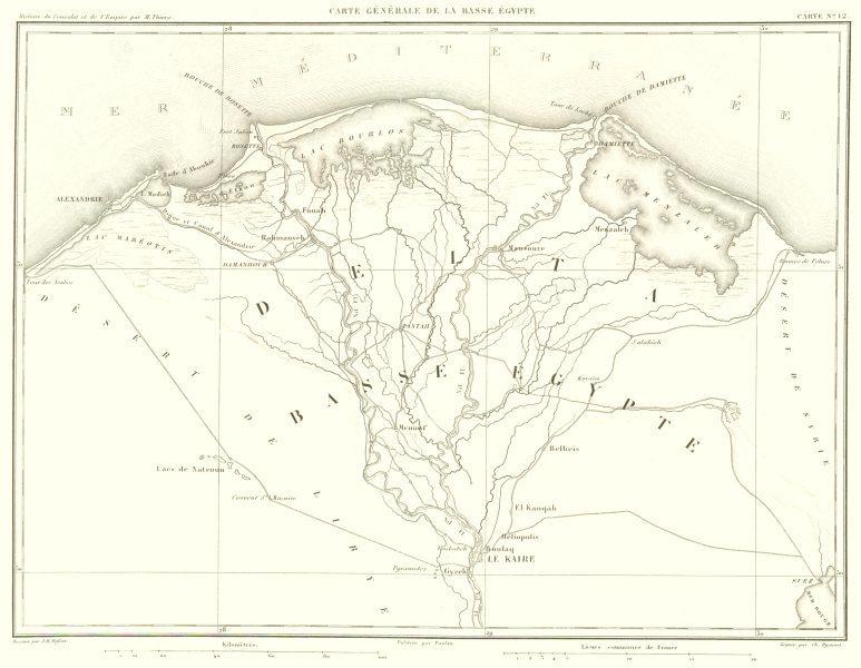 Associate Product EGYPT. NILE DELTA. Basse Egypte. Kaire Cairo Alexandrie 1859 old antique map