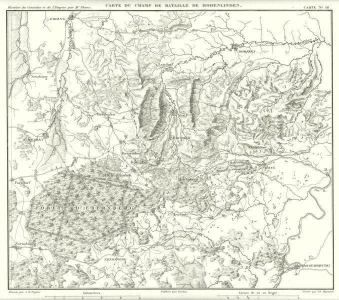 Associate Product GERMANY. Champ Bataille de Hohenlinden. Munich Ebersberg Erding Isen 1859 map