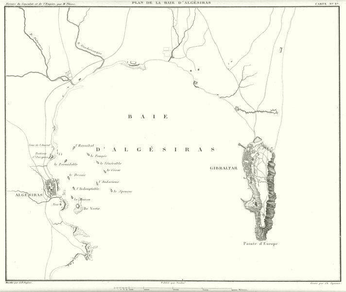 Associate Product SPAIN GIBRALTAR. Baie Algésiras Algeciras campaign 1801. French fleet 1859 map